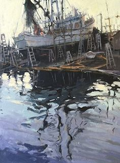 Tarpon Reflections by Katie Dobson Cundiff in the FASO Daily Art Show Urban Landscape, Landscape Art, Landscape Paintings, Landscapes, Boat Art, Oil Painters, Seascape Paintings, Painting Inspiration, Art Images