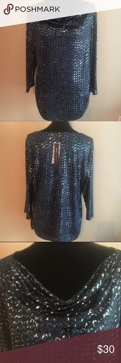 Dana Buchman NWT xl Aqua metallic dress shirt This is an eye catcher. Super stretchy with 4 percent spandex and 96 polyester. 20 inches pit to pit. Has a metallic color to the design. Perfect for going out or work. Scoop gathered neckline Dana Buchman Tops Blouses
