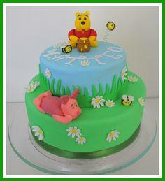 Birthday cake Winnie Pooh Winnie The Pooh, Birthday Cake, Cakes, Desserts, Food, Tailgate Desserts, Deserts, Winnie The Pooh Ears, Cake Makers