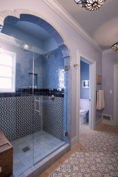 Moroccan Tiles Bathroom Design by Abbott Moon Design Moroccan tiles bathroom designed by Abbott Moon Moroccan Tile Bathroom, Eclectic Bathroom, Bathroom Interior, Moroccan Tiles, Spanish Bathroom, Moroccan Blue, Modern Moroccan, Modern Bathroom, Bathroom Tile Designs