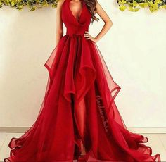 Beautiful Red Long Prom Dress, Sexy V Neck Prom Dress, Puffy Skirt Prom Dress, A-line Prom Gown, Ruffled Prom Dress, Prom Dress for Teens, Charming Formal Dress  Want a glamorous red carpet look for a fraction of the price? This exquisite dress would be perfect as a bridesmaid dress or to wear ...