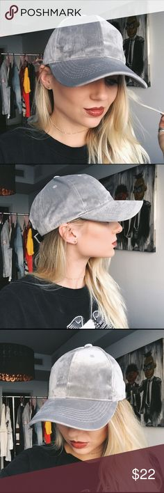 • silver velvet baseball cap • the perfect cap to throw on and go with anything! made of an extremely soft velvety material. sooo comfy.   * beautiful, rich silver color  * velvet-like material * looks expensive  good quality!  * brand is David & Young  ❣ ABSOLUTELY NO PP OR TRADES ❣ LF Accessories Hats