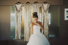 amazing gold glitter bridesmaid dresses! | Ariel Renae #wedding