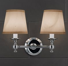 """Restoration Hardware  LUGARNO DOUBLE SCONCE  $125    Lugarno is reminiscent of lighting in Europe's premier hotels.    DIMENSIONS  Sconce: 15½""""W x 6½""""D x 5""""H  English-Barrel Shade, Size A: 6¼"""" diam., 5¾""""H"""
