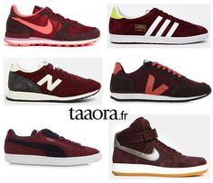 Baskets couleur bordeaux Nike New Balance Adidas