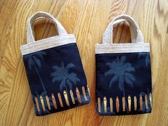 Mini Tote Bag - Hawaiian Surfboards, Longboards, Brown Wood Grain on Black, Gray Palm Trees, 100% COTTON, Beige BURLAP - Coffee Novelty Gift ~ Can use as gift bag for a 1 lb. bag of coffee! ~ Available on www.maliakeibags.com