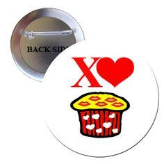 Cupcake Kisses Pinback Button 1.25 | BalliGifts USA