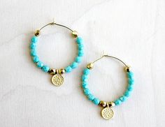 Back in time Hoops Earrings. Turquoise Gold. Fashion. Gift for her, Coin Jewelry. Bohemian, Romantic Hoops. $20.00, via Etsy.