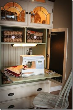 Ideas on how to upcycle various items. I love this entertainment center turned sewing room... this would also be a great school room!