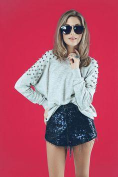 Studded shoulder jumper and Furst of a Kind sequins denim shorts