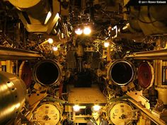 The interior of the submarine U-434, located in the harbour of Hamburg. A view of the exterior can you find here.