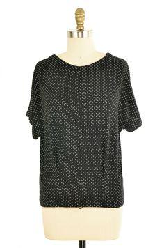 Black and White Polka Dot Top Size M   ClosetDash #polkadot #shirt #fashion #style