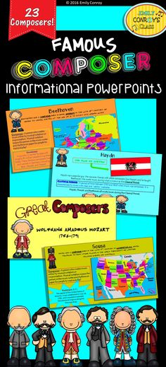 This product contains 118 pages of information on 23 famous music composers from the Baroque, Classical, Romantic, and Impressionist periods. It also contains information on 3 composers from the United States! Add these into your lesson plans by displaying the PowerPoint for your kids and reading the fun facts on each slide!
