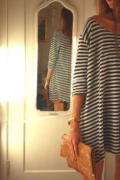 casual striped dress looks so comfy Looks Chic, Looks Style, Style Me, Look Fashion, Autumn Fashion, Womens Fashion, Dress Fashion, Mode Lookbook, Stylish Clothes