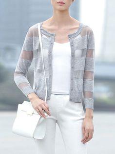 See-through Look Stripe Cardigan