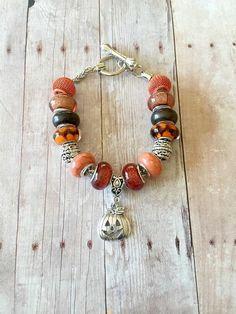 Pumpkin Bracelet - Toggle Bracelet - European Bracelet - Silver Pumpkin Charm Bracelet - Pumpkin Jewelry - Orange Glass Beads Bracelet