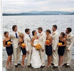 navy bridesmaids, orange flowers, tan tux. im sold