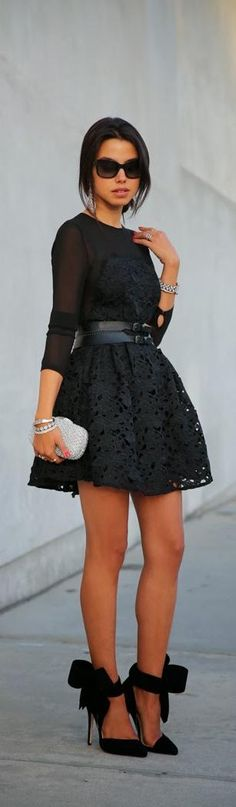 Sheer, black lace, bow heels