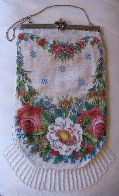 Antique Victorian Crochet Rose Floral French Micro Bead Double Hinge Frame Purse #EveningBag