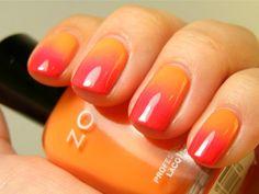 Mango melon ombre nails