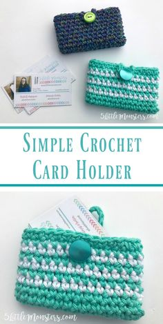 5 Little Monsters: Simple Crocheted Card Holder Free pattern for a simple crocheted card holder. Quick and easy single crochet pouch with a button loop closure. Perfect for carrying business cards. Crochet Wallet, Crochet Coin Purse, Crochet Purses, Crochet Bags, Crochet Keyring Free Pattern, Crochet Accessories Free Pattern, Crochet Shell Pattern, Free Crochet Bag, Quick Crochet Patterns