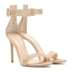 Gianvito Rossi Portofino Glitter Sandals (€530) ❤ liked on Polyvore featuring shoes, sandals, heels, sapato, обувь, gold, heeled sandals, gianvito rossi, gold sandals e gianvito rossi shoes