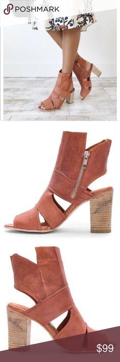 a955d1d2051 FREE PEOPLE Effie Rust Leather Dress Block Heels NEW! FREE PEOPLE Effie Rust  Leather Dress