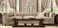 Balustrade Salvaged Wood Dining | Restoration Hardware - proportion couch and coffee table (9 ft and 5ft?)