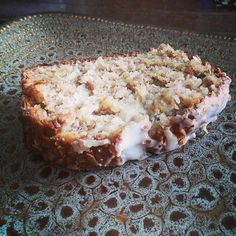 Coconut Banana Bread with Lime Glaze!  Our family devours this, a double batch often lasts 24 hrs if we are lucky.