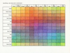 Colored pencil mixing chart