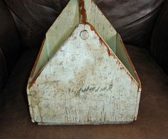 rustic wood totes   Antique PAINTED Primitive Wood Tool Box Carrier Tray Tote or Trug from ...