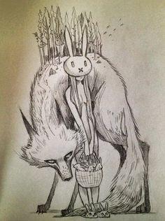 b Chiara Bautista. wolf and bunny girl Art And Illustration, Fantasy Kunst, Fantasy Art, Chiara Bautista, Arte Obscura, Dark Art, Art Inspo, Amazing Art, Art Reference