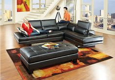 Shop for a Shiloh Black  3 Pc Blended Leather Sectional Living Room at Rooms To Go. Find Living Room Sets that will look great in your home and complement the rest of your furniture.