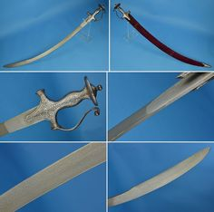 Indian tulwar, 19th century, North India, probably Rajasthan or Gujerat, crystalline wootz steel blade with a pronounced yelmen. The hardened cutting edge has been fused (scarf welded) to a softer, more flexible heel (a common practice in Indian swords), silver koftagri decorated hilt, red velvet covered scabbard. akaalarms.com/