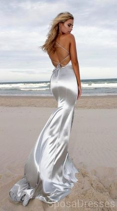 2346cc1d9261 Sexy Backless Mermaid Silver Evening Prom Dresses
