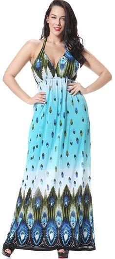ccb3240fc024 Jusfitsu Women s Halter Dots Bohemia Long Summer Maxi Dress Plus Size     Trust me