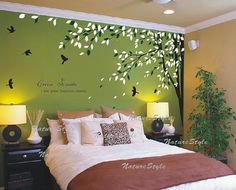 Branch with Flying Birds Vinyl Wall by NatureStyle on Etsy, $62.00