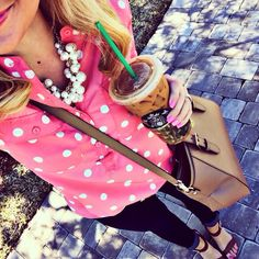 pink & polka dotted.