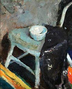 유 Still Life Brushstrokes 유 Nature Morte Paintings - Edwin Dickinson - Studio Still LIfe, Provincetown (Chair, Bowl, and Mantilla), 1914