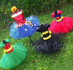 superhero tutus ~ halloween costume photo inspiration ~ wonder woman, robin, batman, superman ~ love it! ~ can order from the goody goody tutu store on etsy