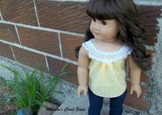 Yellow gingham top with lace collar by MelindasClosetFinds. Made with the LJC Sorrento Top pattern, found at http://www.pixiefaire.com/products/sorrento-top-18-doll-clothes.  #pixiefaire #libertyjane #sorrentotop