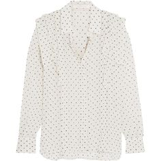 See by Chloé Ruffled polka-dot georgette blouse ($425) ❤ liked on Polyvore featuring tops, blouses, shirts, frilly blouse, ruffle blouse, dot shirt, polka dot top and flounce top