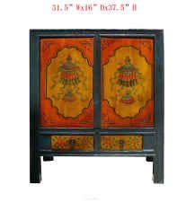 Tibetan Antique Fortune Lotus Umbrella Graphic Altar Table Side Cabinet