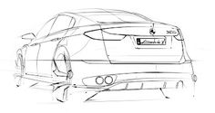 Car sketch rear 3/4 view by André | Car Design Education Tips