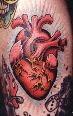 Herz Tattoo, 4 Tattoo, Piercing Tattoo, Tattoo Drawings, Piercings, Human Heart Tattoo, Human Heart Drawing, Traditional Heart Tattoos, Traditional Tattoo Design
