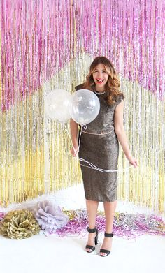 DIY New Year's Eve Tinsel Background