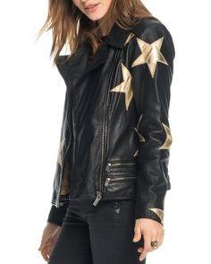Scotch & Soda Star Patch Leather Moto Jacket | Bloomingdale's