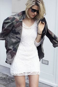 Camo jacket and white lace (by Sofie V.) http://lookbook.nu/look/3770389-Camo-jacket-and-white-lace