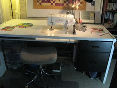 In this post, I offer some solutions to some of my sewing room problems that I have encountered over the years. Frustrations with problems of sewing room storage and use lead me to solutions to ma… Sewing Room Storage, Sewing Room Organization, My Sewing Room, Sewing Rooms, Organizing Crafts, Diy Sewing Table, Sewing Machine Tables, Vintage Sewing Notions, Vintage Sewing Machines