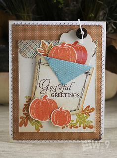 handmade Thanksgiving card: Grateful Greetings by Dawn Wplus9 ... pocketful of pumpkins ... luv the machine seveing on the pocket and around the edges of the main panel ... subdued Fall colors ... multi-coloring on oak leaves ... lovely ...